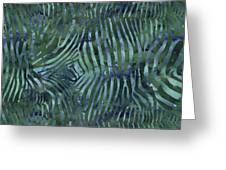 Green Zebra Print Greeting Card