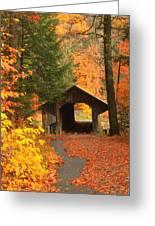 Greenfield Pumping Station Bridge Autumn Greeting Card
