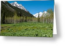 Greens And Blues Of The Maroon Bells Greeting Card