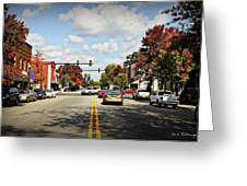 Greensboro Georgia Corner Of Main Street And Broad Street Fall Leaves Greensboro Georgia Art Greeting Card
