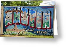 Greetings From Austin Capital Of Texas Postcard Mural Greeting Card