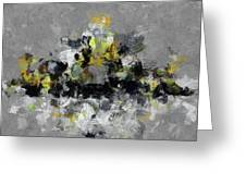 Grey And Yellow Abstract Cityscape Art Greeting Card