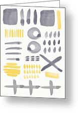 Grey And Yellow Shapes- Abstract Painting Greeting Card