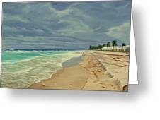 Grey Day On The Beach Greeting Card
