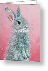 Grey Easter Bunny Greeting Card