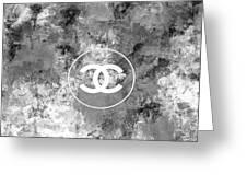 Grey White Black Chanel Logo Print Greeting Card