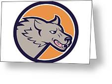 Grey Wolf Head Angry Circle Cartoon Greeting Card