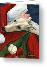 Greyhound And Santa Greeting Card by Charlotte Yealey