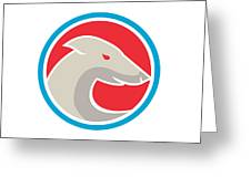 Greyhound Dog Head Side Circle Retro Greeting Card