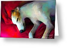 Greyhound Dog Portrait  Greeting Card
