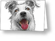 Greyscale Terrier Mix 2989 - Wb Greeting Card