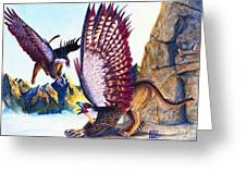 Griffins On Cliff Greeting Card