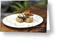 Grilled Fish With Roast Potato Herbs And Garlic Greeting Card