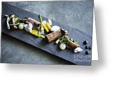 Grilled Pork Sour Cream And Vegetables On Modern Grey Slate Greeting Card
