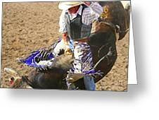 Gripping Bull Rider ... Montana Art Photo  Greeting Card