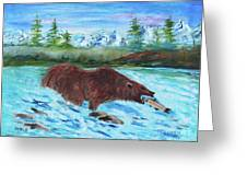 Grizzley Catching Fish In Stream Greeting Card