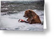 Grizzly Bear Enjoying Lunch Greeting Card