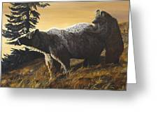 Grizzly With Cub Greeting Card