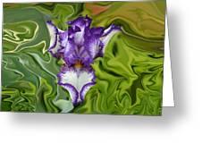 Groovy Purple Iris Greeting Card by Rebecca Margraf