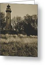 Grosse Point Lighthouse Sepia Greeting Card