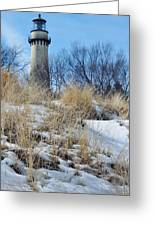 Grosse Point Lighthouse Winter Dunes Greeting Card