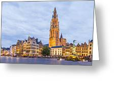 Grote Markt Square In Antwerp Greeting Card