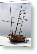 Grounded Ship In Frozen Water Greeting Card