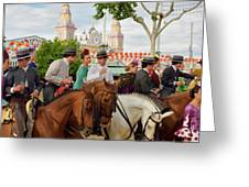Group Of Couples On Horseback Drinking And Partying At The Sevil Greeting Card