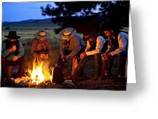 Group Of Cowboys Around A Campfire Greeting Card