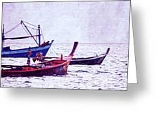 Group Of Fishing Boats Greeting Card