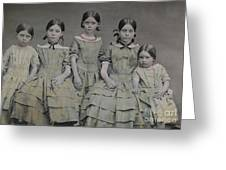 Group Portrait Of Five Sisters Greeting Card