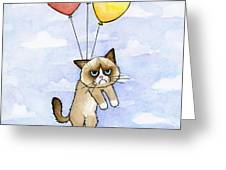 Grumpy Cat And Balloons Greeting Card