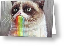 Grumpy Cat Tastes The Rainbow Greeting Card by Olga Shvartsur