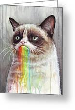 Grumpy Cat Tastes The Rainbow Greeting Card