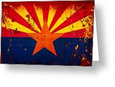 Grunge And Splatter Arizona Flag Greeting Card