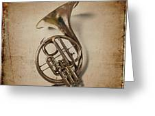 Grunge French Horn Greeting Card