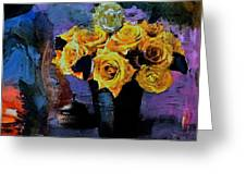 Grunge Friendship Rose Bouquet With Candle By Lisa Kaiser Greeting Card