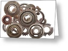 Grunge Gear Cog Wheels Mechanism Isolated On White Greeting Card