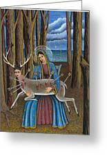 Guadalupe Visits Frida Kahlo Greeting Card