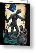 Guarden Of Eden Or Guardians Of Eden Original Available Greeting Card