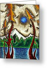 Guardians Of The Wild Original Madart Painting Greeting Card