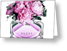 Gucci Perfume With Peony Pink Greeting Card