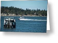Guemes Island And Fishing Boat Greeting Card
