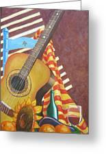 Guitar And Oranges Greeting Card