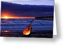 Guitar At Sunrise Greeting Card