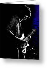 Guitar Man In Blue Greeting Card by Meirion Matthias