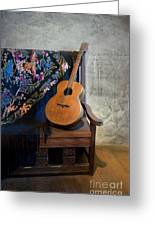 Guitar On A Bench Greeting Card