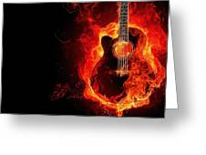 Guitar On Fire Greeting Card