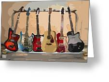 Guitars On A Rack Greeting Card