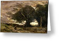 Gust Of Wind Greeting Card by Jean Baptiste Camille Corot
